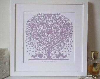 Personalised Mum's Family Tree Heart Print