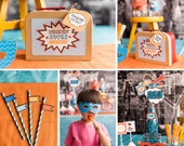 Superhero Birthday, Superhero Party Kit, Superman Party, Vintage DIY Party Collection by MayDetails with your CUSTOM PHOTO, Party Kit