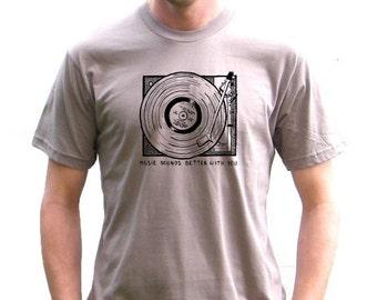 Mens Organic American Apparel Tshirt - Record Player Vintage Design - XS, Small, Medium, Large, Extra Large, XXL