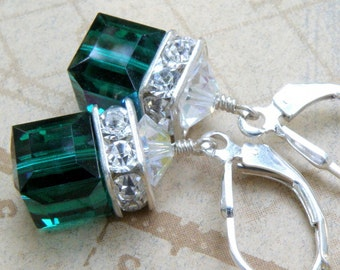 Emerald Crystal Earrings, Green Swarovski Cube Sterling Silver, Drop Dangle Bridesmaid Modern Wedding May Birthday Birthstone, Ready To Ship