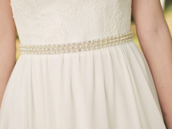 Bridal Sash / Wedding Dress Sash / Bridal Belt / Rhinestone Sash Belt / Pearl Bridal Belt {Tribune Sash}