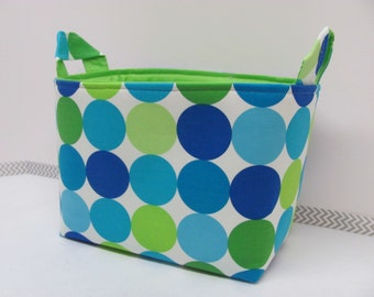 LARGE Fabric Organizer Basket Storage Container Bin Bucket Bag Diaper Holder Home Decor- Size Large - Disco Dots Blue