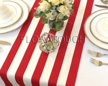 White and Red Stripe Table Runner Wedding Table Runner with red stripes on the borders