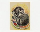 Adorable Vintage Sleeping Kitten Print