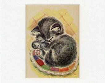 Adorable Vintage Sleeping Kitten Print