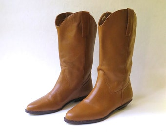 vintage Nine West Dark Caramel Brown Leather Mid Calf Riding Boots