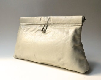 vintage Tadora Putty Leather Clutch