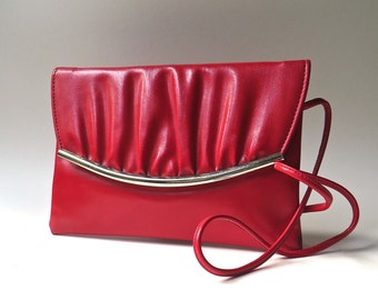 80s vintage Ruched Red Vegan Vinyl Purse