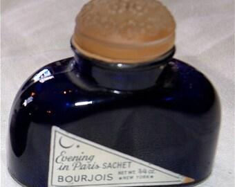 SALE Evening in Paris Sachet  1920s Cobalt Blue Powder Bottle