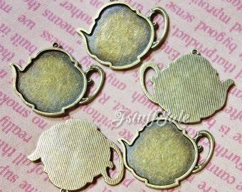 5 pieces - Teapot shape frames settings - Antique bronze