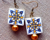 Portugal Azulejo Tile Replica Earrings from BARCELOS Blue Gold  (see actual Facade photos) WATERPROOF and REVERSIBLE 747