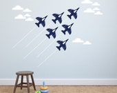 Jet airplane wall decal - set of 6 planes White Clouds Airplane Navy Air Force Jets wall decor Jet Decal Top Gun Boy Wall Decorations Jets