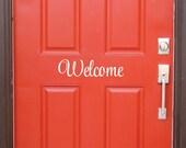 Welcome Decal - front door vinyl lettering - door decal - vinyl wall decal for home