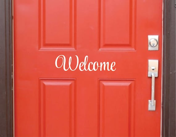 Welcome decal front door vinyl lettering door decal for Door vinyl design