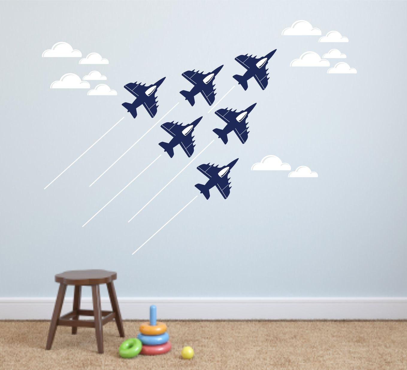 Jet airplane wall decal cloud wall decals navy air force for Aeroplane wall mural