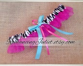 Organza Satin Skirted Garter..Many Colors Available for Custom Orders..shown in hot pink/zebra/aqua
