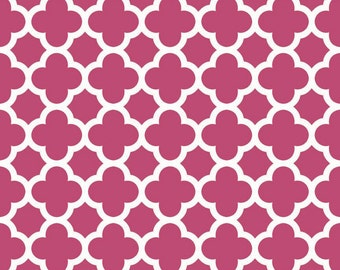 SUMMER SALE - 1 1/8 Yards - Medium Quatrefoil Cotton in Raspberry - C435-91 - Riley Blake Designs