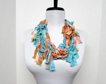 GladRagz Circle of Chains Necklace Scarf in Rust Orange, Cream, Turquoise Ready to Ship Infinity Circle Shredded Scarf Knotted Scarf Crochet