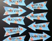 9 Alice in Wonderland Arrow Signs Mad Hatter Tea Party Wedding Decoration Props blue rose