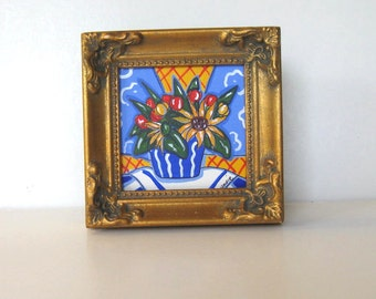 French Blue Original Acrylic Still Life Painting on canvas, French Country decor, Sunflowers, Tulips