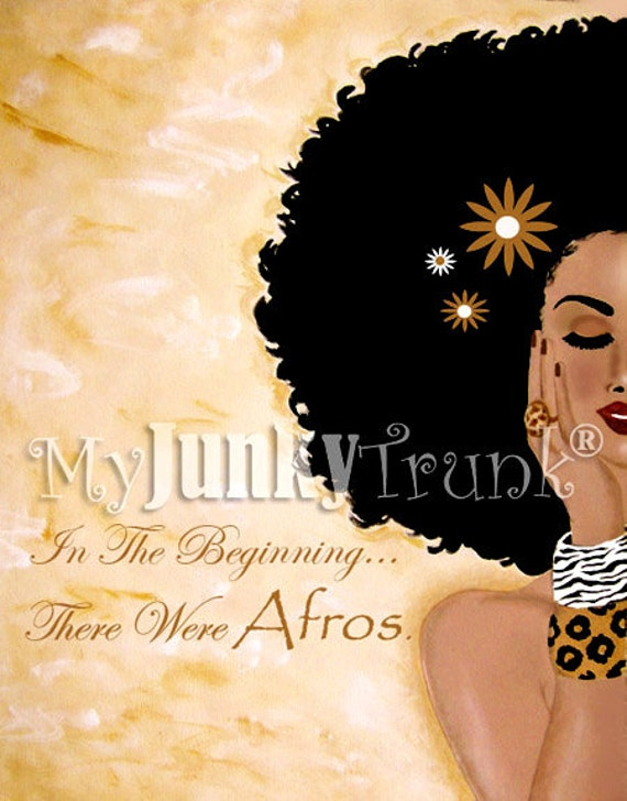 BOGO SALE- In The Beginning...There Were Afros-- African American Art Natural Hair Art Black Art Afro Print