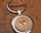 Mens Accessories - Coin Jewelry - Transit Token Jewelry - Genuine Champaign-Urbana Illinois Transit Token Round Key Ring - Initial S