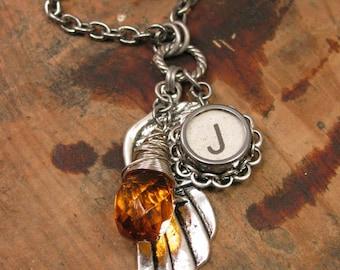 "Typewriter Key Jewelry - NOVEMBER Birthstone - Angel Wing/Memories Necklace - White Initial ""J"" Typewriter Key, Amber/Citrine Color Crystal"