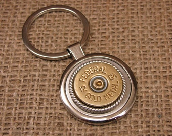 Shotgun Casing Jewelry - Holiday Gift for Guy - Quality Round Silver Key Ring with 12 Gauge Federal Gold Medal Shotshell - Groomsmen Gifts