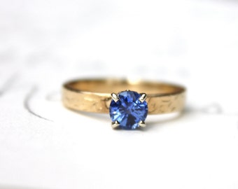 unique Ceylon sapphire engagement ring . recycled 14k rose gold engraved vine ring . alternative blue gemstone solitaire engagement ring
