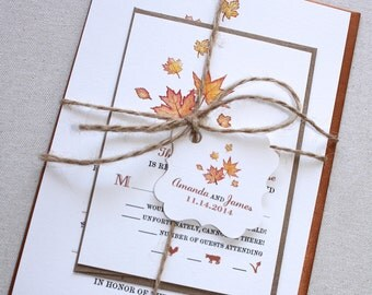 Printable Watercolor Fall Maple Leaves Invitation Set