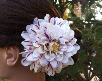 Red and White Striped Peppermint Dahlia Hair Clip