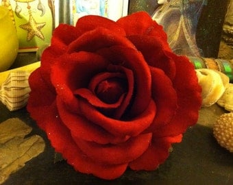 Red Rose Hair Clip- medium