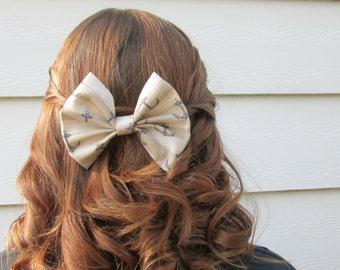 Nautical Anchor Fabric Hair Bow