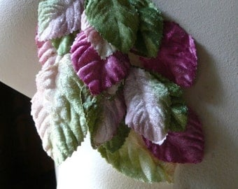 Velvet Leaves in Pink and Green Ombre for Bridal, Headbands, Millinery, Costumes ML 18ndl