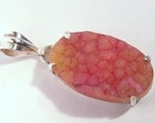 Pink Orange Quartz  Druzy Sterling Silver Pendant