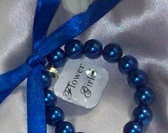 Royal Blue wedding,Flower Girl Braclet,Royal Blue Bracelet,Pearl Bracelet,Wedding Accessories