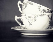 Black and White Tea Cup Photography- Two Cups (black and white) - Kitchen decor, cafe decor, silver, grey, coffee cups, vintage style