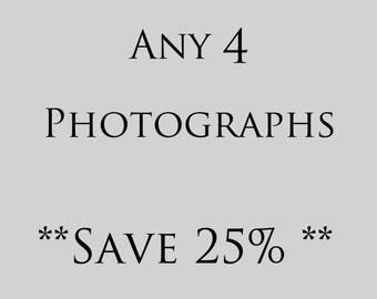 Customize Any 4 Photographs, print set, nature living room decor, flower nursery decor, Instant home decor, still life bathroom decor