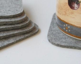 Square Felt Drink Coaster Set Granite 3mm Felted Grey Wool Fabric Coasters Gray Ecofriendly Homewarming Hostess Gift Barware