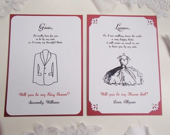 Ring Bearer and Flower Girl Invitation- 5x7 card- Will you be my- Wedding- Tuxedo- Dress
