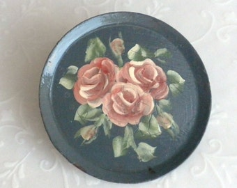 Vintage Tole Enamel Hand Painted Victorian Roses on Tin Brooch