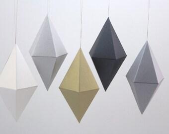 Geometric Paper Gem Ornaments - Dipyramid - Shimmery Metallics - Set of 5 -  template, pattern, DIY, origami