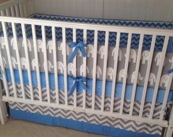 Crib Bedding Set Sky Blue and Gray Elephant