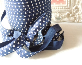"5 Yards of 5/8"" Navy with White Dots Printed Fold Over Elastics FOE"