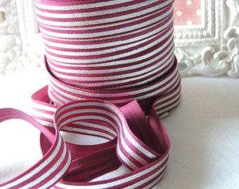 "5 Yards of 5/8"" Maroon with Metallic Silver Stripes Printed Fold Over Elastics FOE"