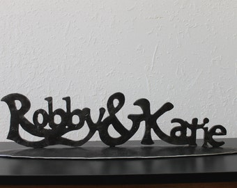 Your Names written in Iron personalized wedding gift, Family name sign, established sign for iron anniversary gift, gift for her or couples