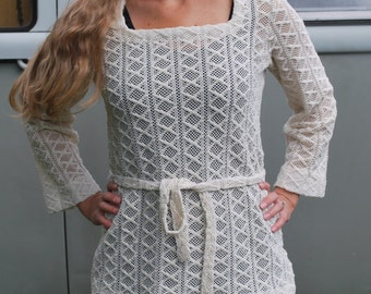 Vintage Crochet Shirt Belted Tunic top