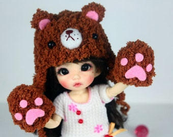 Lati yellow / Pukifee  Bear crochet hat and bear glove