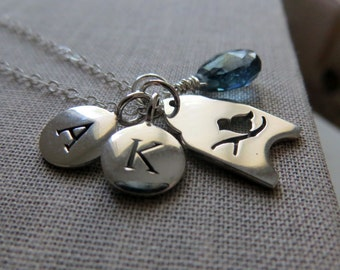 Initial necklace, personalized jewelry, adorable birdcage charm, sterling silver sisters childrens jewelry