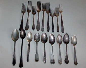 18 Mismatched Silver Plate Forks and Spoons